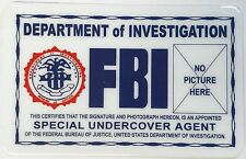 FBI - Department of Investigation - Undercover Agent  Fun Novelty Item - ID Card
