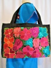 AUTHENTIC MEXICAN  BLACK W MULITCOLOR HAND EMBROIDERY SHOULDER PURSE, NWOT