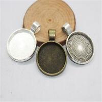 10Pcs 20mm Round Pendant Trays Frame Making Jewellery Necklace Base Cabochon