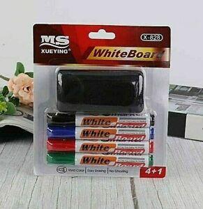 5PC Black Blue Red Green Whiteboard Markers + Eraser Set Dry Wipe School Office