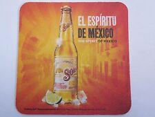 Beer COASTER ~*~ Sol Pale Lager Cerveza El Espiritu ~ Monterrey, Mexico Est 1899