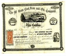 1865.   Pennsylvania. McKean Coal,Iron and Oils Company Stock.