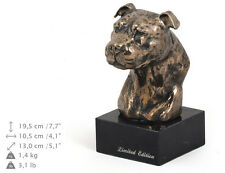 Amstaff smaller statue, dog bust marble statue, ArtDog Limited Edition, AU