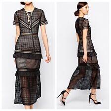 SELF-PORTRAIT Lace-Up Peplum Midi Dress Size UK 8