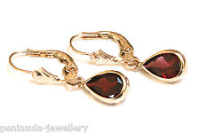 9ct Gold Garnet Leverback Drop Earrings Gift Boxed Made In Uk