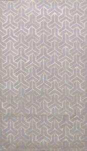 Wool/ Silk Modern Trellis Indian Oriental Area Rug Hand-tufted Foyer Carpet 5x8