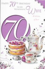 70TH WIFE BIRTHDAY CARD,TEA & CAKES XPRESS YOURSELF,CELEBRITY STYLE*9X6 INCH(A6