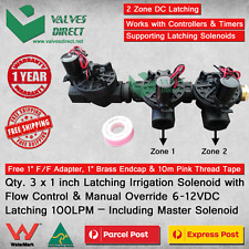 Qty. 3 x 1inch 25mm Irrigation Solenoid DC Latching 100LPM-Flow Control&Override