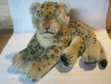 Vintage Steiff reclining leopard, glass eyes, some repairs