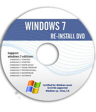 WINDOWS 7 - Basic Home Premium Ultimate 32Bit-64Bit ReINSTALL DVD w/HD Install