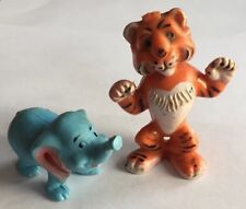 Vintage PVC Plastic Animal Elephant Tiger Toy Figures Figurines Hong Kong