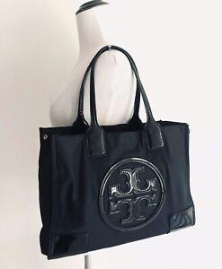 Tory Burch Ella Patent Leather Mini Tote Black Nylon Lightweight Shoulder Bag