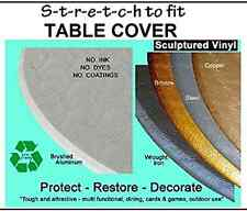 """Fitted Round Elastic Edge Vinyl Tablecloth Table Cover fits 36"""" to 48"""" Metallic"""