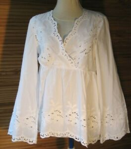 H&M broderie anglaise cotton top 12(EUR 40) white L/sleeves new
