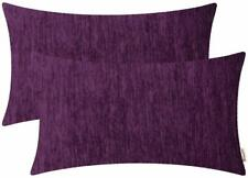 BRAWARM Pack of 2 Comfy Chenille Bolster Pillow Covers Cases for Couch Sofa Bed
