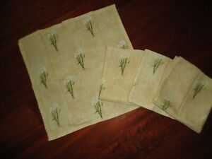 CROSCILL ORCHIDS AND NARCISSUS TAN GREEN FLORAL (4PC) FABRIC NAPKINS SET16 X16
