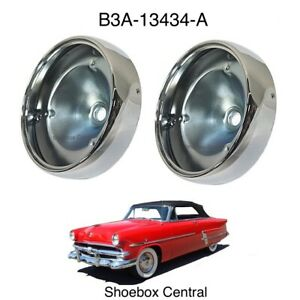 1953 Ford Tail Light Lamp Chrome Bezels Housings Bodies Buckets PAIR