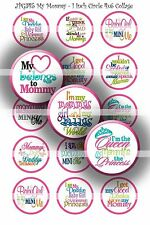 Pre-Cut Bottle Cap Images My Mommy Collage Sheet R112 - 1 Inch Circles