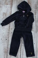 JUICY COUTURE Girls Size 2T Velour Full Zip Hoodie Jacket Pants Outfit Set