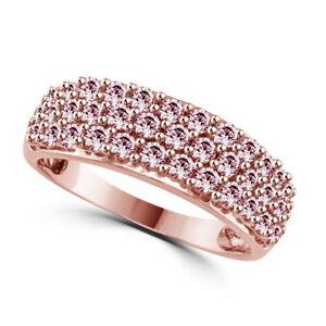 Morganite Cluster Engagement Band Ring 10k Rose Gold