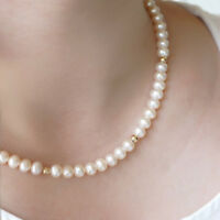 35inch AAA AKOYA 9-10MM WHITE PEARL NECKLACE 14K GOLD CLASP