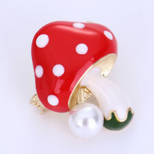 Simulation-Pearl Mushroom Brooch Rhinestone Enamel Lapel Pin Fashion Jewelry