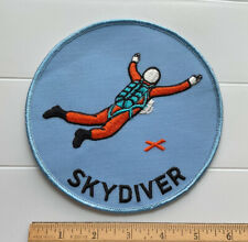 "Skydiving Skydiver Red X Landing Spot Large 6"" Round Blue Embroidered Back Patch"