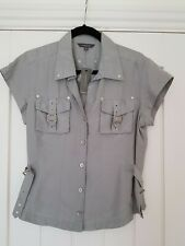 River Island Pure Silk Grey Shirt Size 16 BNWT