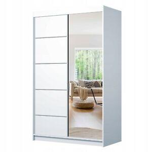 Schwebetürenschrank ROMY 05 120cm Klein Kleiderschrank mit Spiegel Schiebetüren