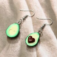 Oval Love Heart Drop Dangle Avocado Earring Piercing Earring Fruit Tassel