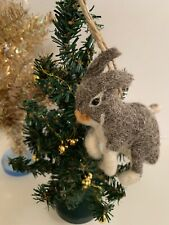 Anthropologie Wool Felt Brown Bunny Rabbit Christmas Ornament NWT Sold Out