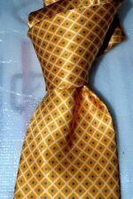 "$225 NWOT BRIONI Gold Yellow diamond check 3.5"" men's satin silk tie Italy"