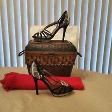 "Beverly Feldman Strappy Suede Snakeskin Stiletto 4.5"" Heels Black Ivory Size 7M"