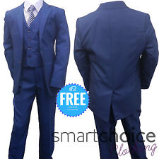 New Kids Boys Petrol Navy Blue 5 Piece Suit Ages 1-12 Years
