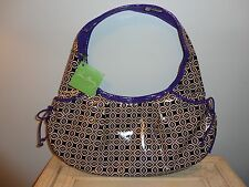 NWT-VERA BRADLEY SIMPLY VIOLET HOBO PURSE ROUCHED FRONT POCKETS SILVER TAG-CHIC