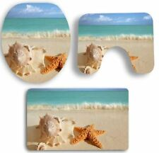 3PCS Ocean Style Non-Slip Bathroom Rug Set Bath Mat Contour Toilet Lid Cover Set