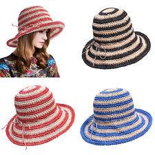 Two Stripes Women's Paper Crocheted Sun Bucket Style Crusher Cloche Sun Hat A415
