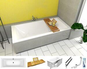 Badewanne Wanne Rechteck 200x90 Ablage Bambus Styroporverkleidung Ablauf GRATIS