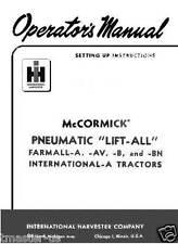McCormink Farmall Pneumatic Lift-All  manual for A,AV,B,BN