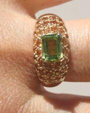 GEM QUALITY GORGEOUS 10K GREEN AMETHYST & SPHALERITE CLUSTER RING