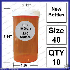 10 NEW Empty RX Prescription Bottles Safety Size 40 Dram Craft Storage Container