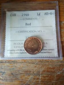 1946 Canadian cent graded MS-64 Red
