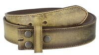 "Vintage Distressed Style Genuine Leather Casual Belt Strap 1-1/2"" Wide, TAN"