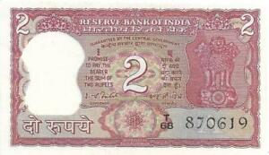 INDIA 2 Rupees 🌎💷 P - 53d, UNC from ND (1977-82)  🐯FULL TIGER 🐯 L🐯🐯K