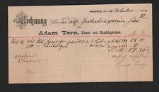 SONNEBERG, Rechnung 1889, Adam Terx Kunst-Handelsgärtnerei