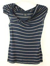 Anthropologie DELETTA Womens S A Bit Unruly Twist Roll TShirt Top Blue Striped