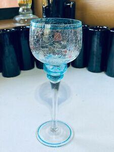 Decorative Crackle Glass Blue Votive Candle Holder
