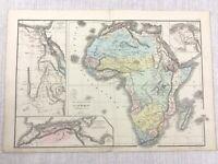 1877 Antik Map Of Afrika Ägypten Suez Canal Delta Hand- Farbig 19th Jahrhundert