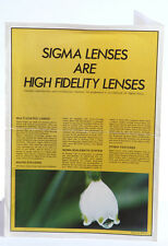 Sigma Interchangeable Lenses Fold Out Photography Poster / Booklet