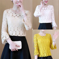 Women Fashion Loose Lace Blouse Tops Long Sleeve Blouse Casual Hollow Out Shirt`